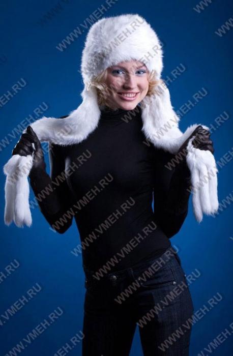 белая шапка-шарф из вязаного меха кролика, женские головные уборы.